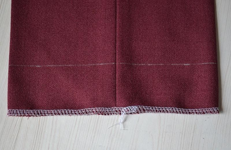 Обработка среза ткани штанины